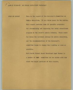 Primary view of object titled '[News Script: Duncan stand-up on school educations proposals]'.