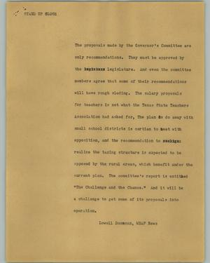 Primary view of object titled '[News Script: Stand up close]'.