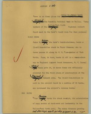 Primary view of object titled '[News Script: Airport]'.