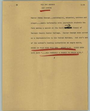 Primary view of object titled '[News Script: Old Doc George]'.