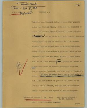 Primary view of object titled '[News Script: Thurmond]'.