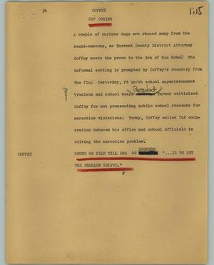 Primary view of object titled '[News Script: Coffey]'.