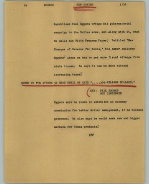 Primary view of object titled '[News Script: Eggers]'.