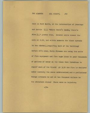 Primary view of object titled '[News Script: Two alarmer]'.