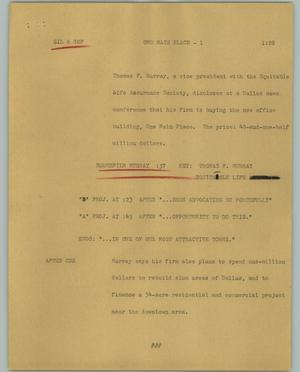 Primary view of object titled '[News Script: One Main Place]'.