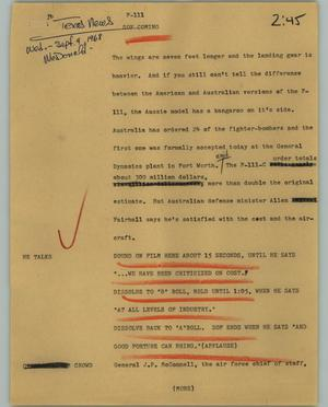 Primary view of object titled '[News Script: F-111]'.