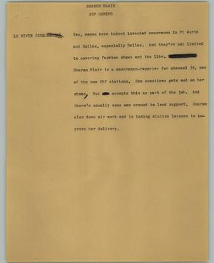 Primary view of object titled '[News Script: Sharon Blair]'.