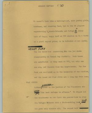 Primary view of object titled '[News Script: Lubbock refugio]'.
