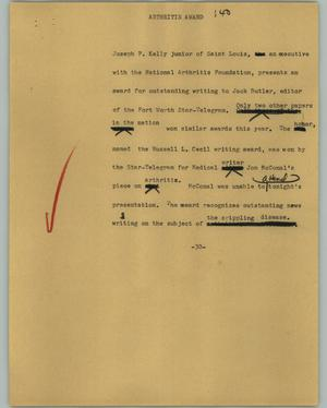Primary view of object titled '[News Script: Arthritis award]'.