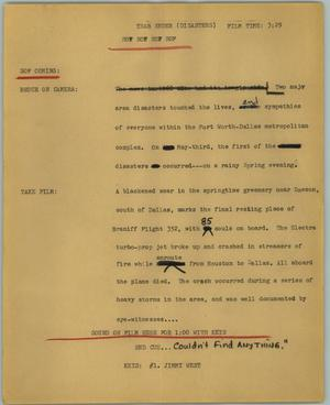 Primary view of object titled '[News Script: Year ender (disasters)]'.