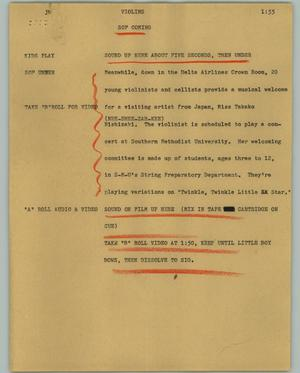 Primary view of object titled '[News Script: Violins]'.