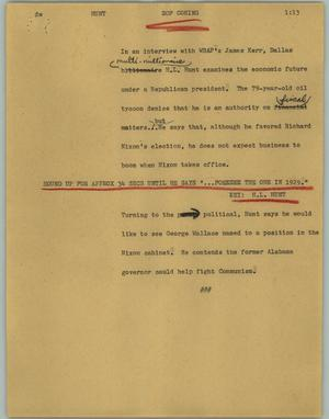 Primary view of object titled '[News Script: Hunt]'.
