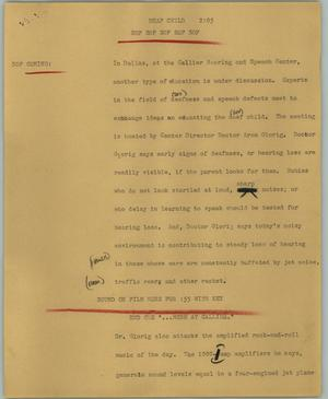 Primary view of object titled '[News Script: Deaf child]'.
