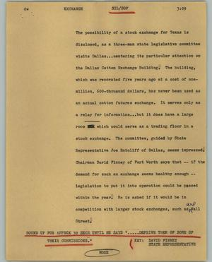 Primary view of object titled '[News Script: Exchange]'.