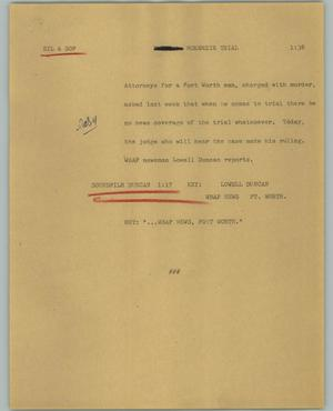 Primary view of object titled '[News Script: McKenzie trial]'.