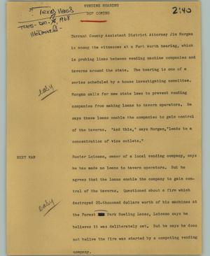 Primary view of object titled '[News Script: Vending hearing]'.
