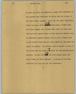 Primary view of object titled '[News Script: Seventh veil]'.