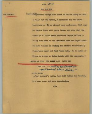 Primary view of object titled '[News Script: Bush]'.