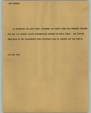 Primary view of object titled '[News Script: Cop dinner]'.