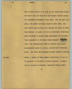 Primary view of object titled '[News Script: Floats]'.