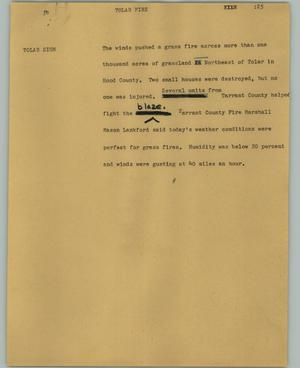 Primary view of object titled '[News Script: Tolar]'.
