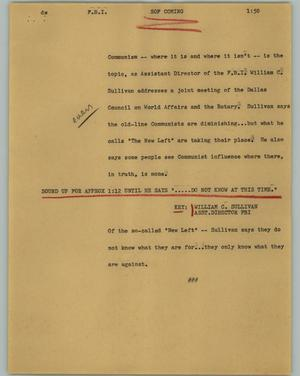 Primary view of object titled '[News Script: F.B.I.]'.