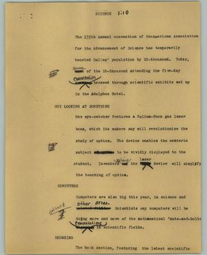 Primary view of object titled '[News Script: Science]'.
