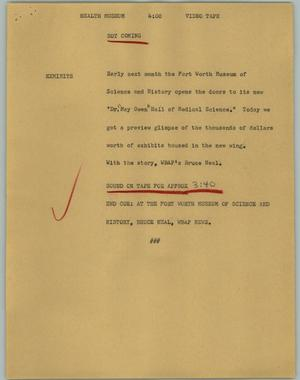 Primary view of object titled '[News Script: Health museum]'.