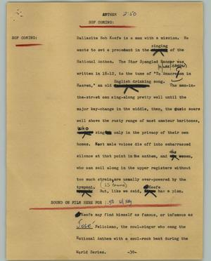 Primary view of object titled '[News Script: Anthem]'.