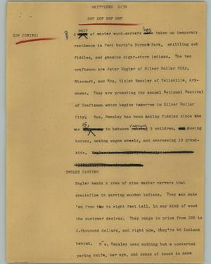 Primary view of [News Script: Whittlers]