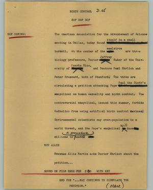 Primary view of object titled '[News Script: Birth control]'.