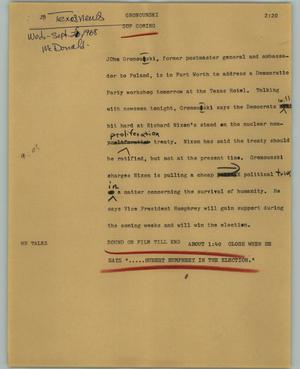 Primary view of object titled '[News Script: Gronounski]'.