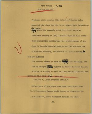Primary view of object titled '[News Script: Mike McKool]'.