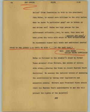 Primary view of object titled '[News Script: Crime]'.