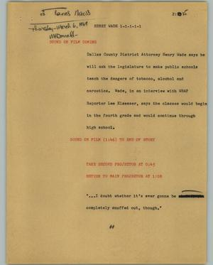 Primary view of object titled '[News Script: Henry Wade]'.