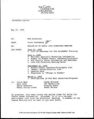 Primary view of [Letter from Vicki Rosenberg to RIG Directors, May 23, 1995]