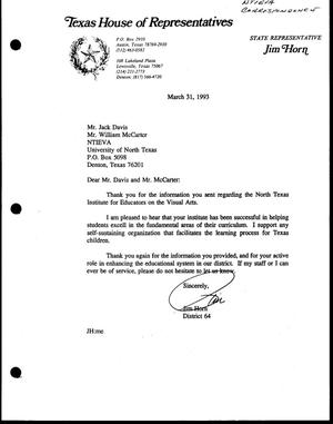 Primary view of [Letter from Jim Horn to Jack Davis and Bill McCarter, March 31, 1993]