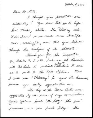 Primary view of [Letter from Suzi Alost-Redit to Bill McCarter, October 9, 1995]