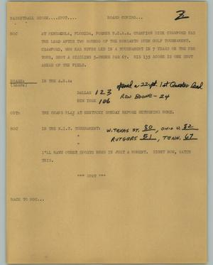 Primary view of object titled '[News Script: Basketball Score]'.