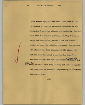 [News Script: Dr. Woolf honored]