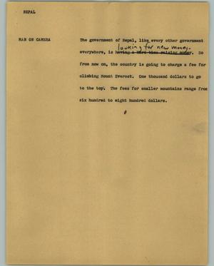 Primary view of object titled '[News Script: Nepal]'.