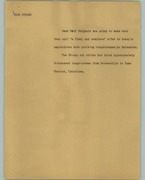 Primary view of object titled '[News Script: Dock strike]'.