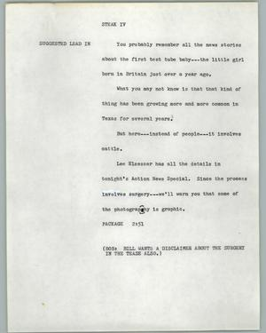 Primary view of object titled '[News Script: Steak IV]'.