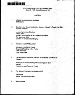Primary view of object titled 'Agenda for NTIEVA Museum Educators Meeting, March 3, 1995'.