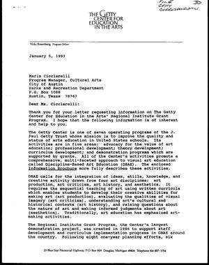Primary view of [Letter from Julie Anne Abel to Maria Cicciarelli, January 5, 1993]