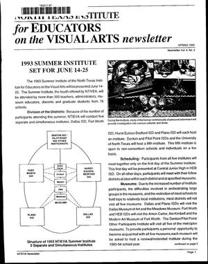 Primary view of North Texas Institute for Educators on the Visual Arts newsletter, Spring 1993