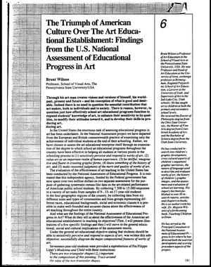 Primary view of object titled 'The Triumph of American Culture Over The Art Education Establishment: Findings from the U.S. National Assessment of Educational Progress in Art'.