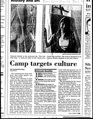 Primary view of object titled 'Camp targets culture'.