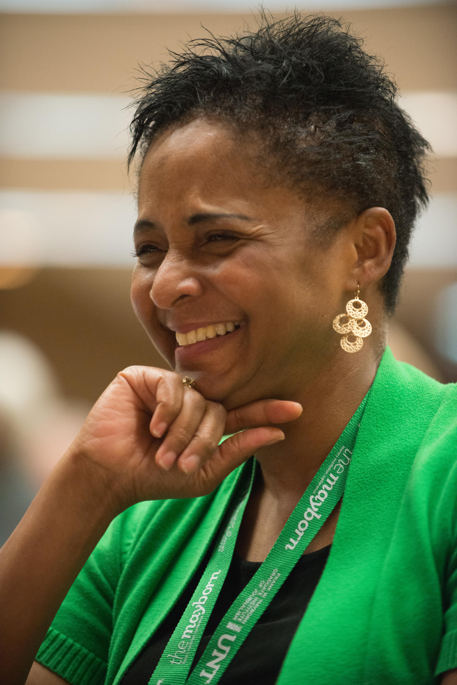 """[Dorothy Bland laughing at a panel], Photograph of Dorothy Bland, the Dean of the Mayborn School of Journalism, laughing at something said during the """"Sensitivity - The Right Way to Cover Survivors"""" panel. The panel was held as a part of the Mayborn Literary Nonfiction Conference at the Hilton DFW Lakes Executive Conference Center, Grapevine, TX.,"""