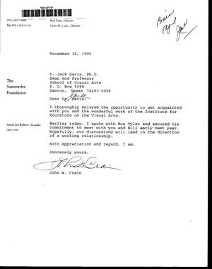 Primary view of [Letter from John W. Crain to Jack Davis]